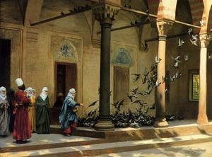 Jean Léon Gérôme - Harem Women Feeding Pigeons in a Courtyard - (Famous paintings reproduction)
