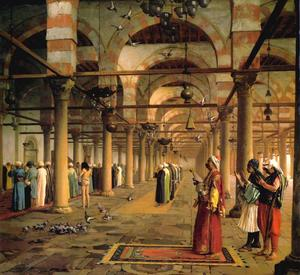 Jean Léon Gérôme - Public Prayer in the Mosque of Amr, Cairo - (Famous paintings)