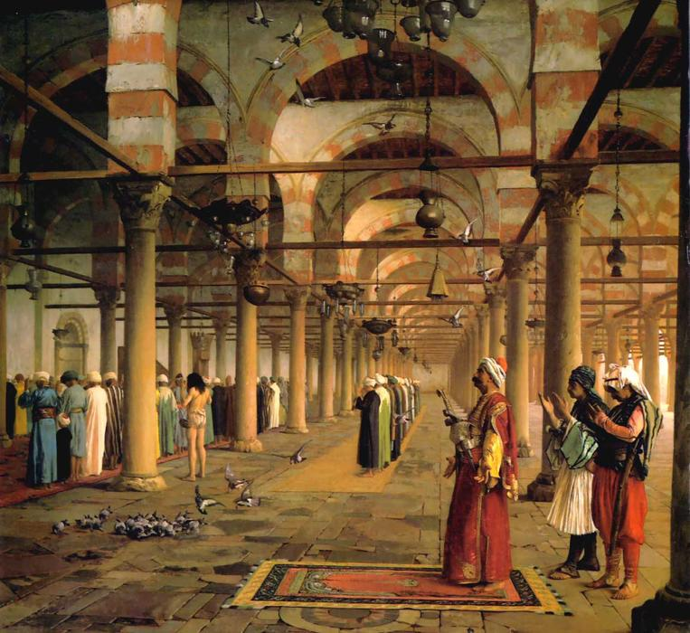 Public Prayer in the Mosque of Amr, Cairo, Oil by Jean Léon Gérôme (1824-1904, France)