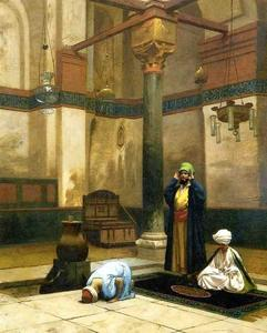 Jean Léon Gérôme - Three Worshippers Praying in a Corner of a Mosque