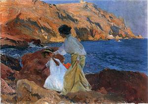Joaquin Sorolla Y Bastida - Clotilde and Elena on the Rocks at Javea