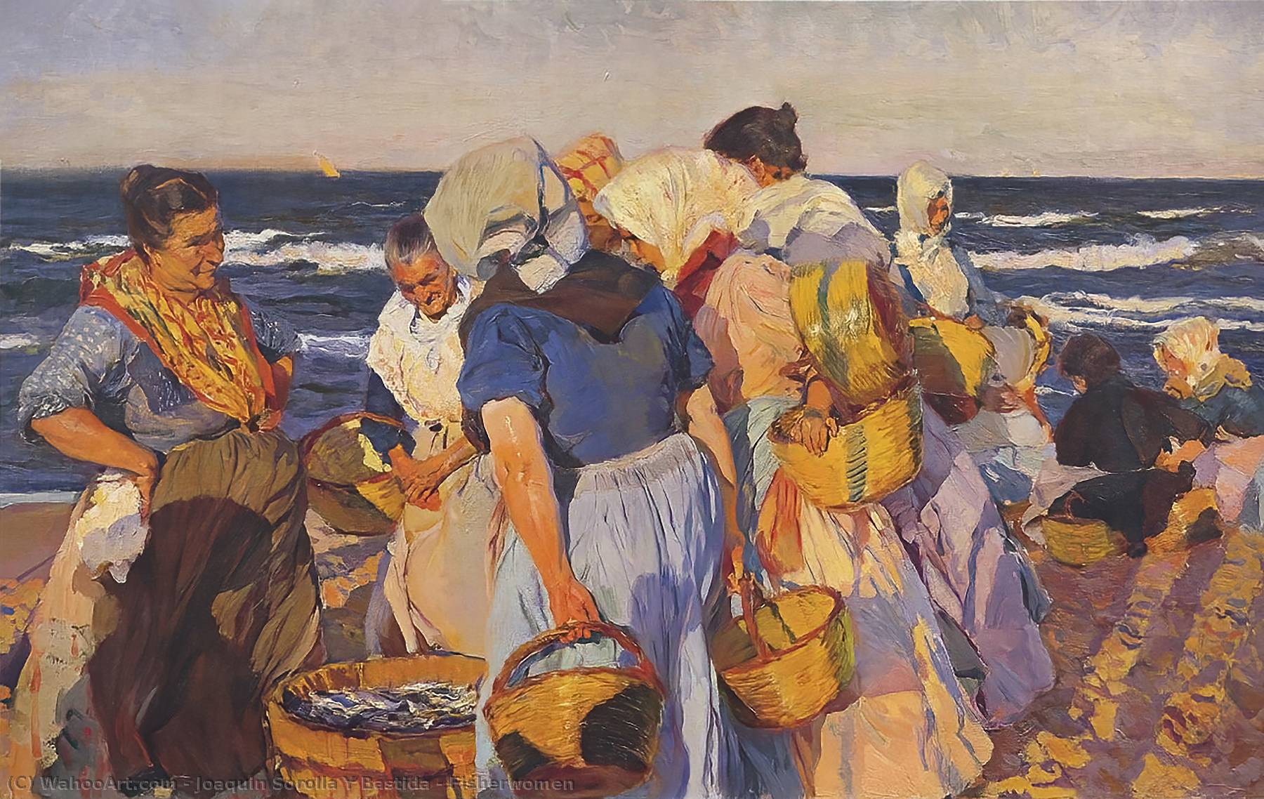 Fisherwomen, Oil On Canvas by Joaquin Sorolla Y Bastida (1863-1923, Spain)