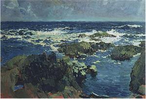 Joaquin Sorolla Y Bastida - Sea and rocks in San Esteban, Asturias