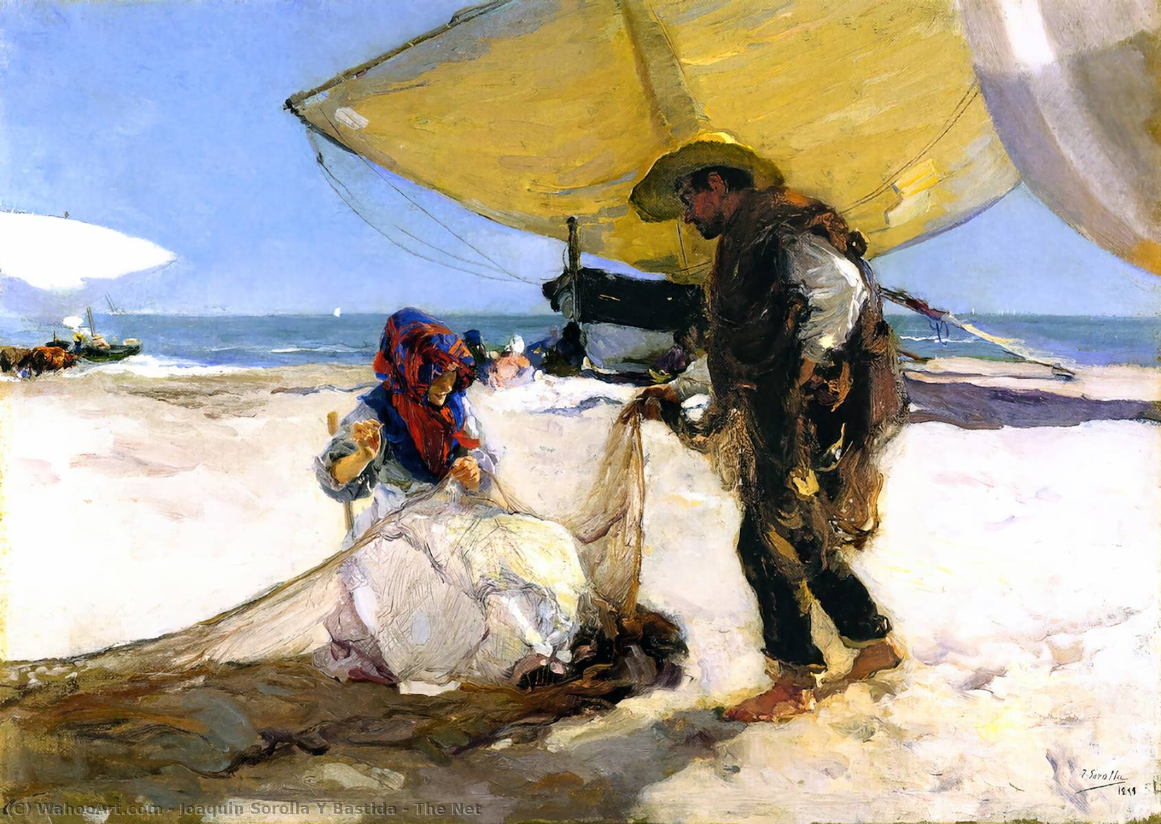 The Net, Oil On Canvas by Joaquin Sorolla Y Bastida  (buy Fine Art Art reproduction Joaquin Sorolla Y Bastida)