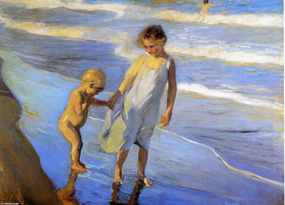 Valencia, Two LIttle Girls on a Beach, Oil On Canvas by Joaquin Sorolla Y Bastida (1863-1923, Spain)