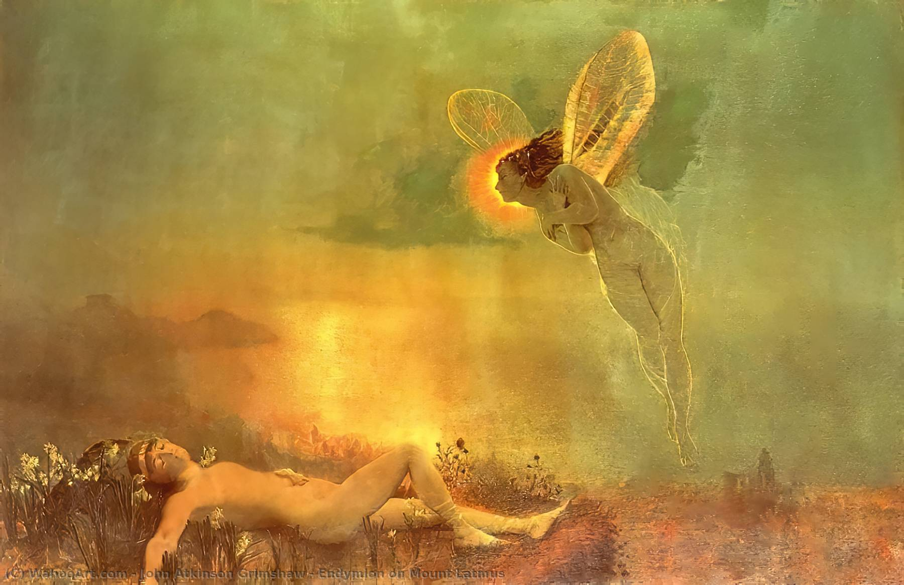 Endymion on Mount Latmus, 1879 by John Atkinson Grimshaw (1836-1893, United Kingdom) | Painting Copy | WahooArt.com