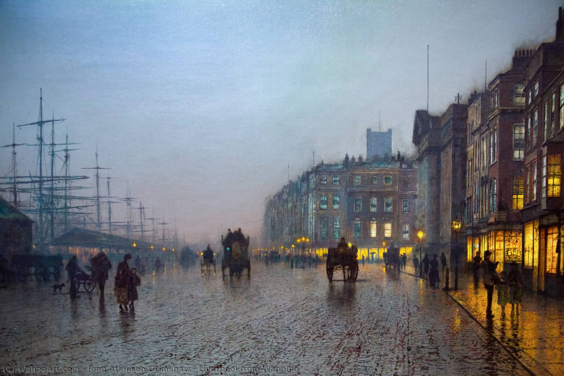 Liverpool from Wapping, 1875 by John Atkinson Grimshaw (1836-1893, United Kingdom) | Art Reproductions John Atkinson Grimshaw | WahooArt.com