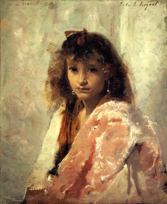 Carmela Bertagna, Oil On Canvas by John Singer Sargent (1856-1925, Italy)