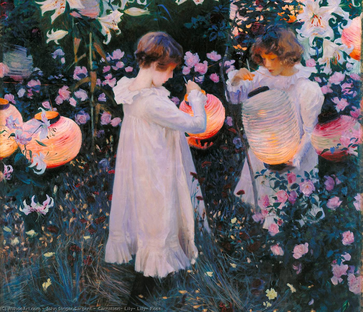 Carnation, Lily, Lily, Rose, Oil by John Singer Sargent (1856-1925, Italy)