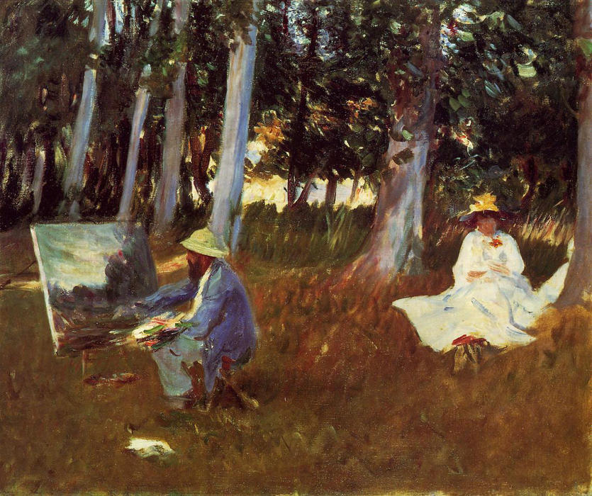 Claude Monet Painting by the Edge of a Wood, 1885 by John Singer Sargent (1856-1925, Italy) | Art Reproduction | WahooArt.com
