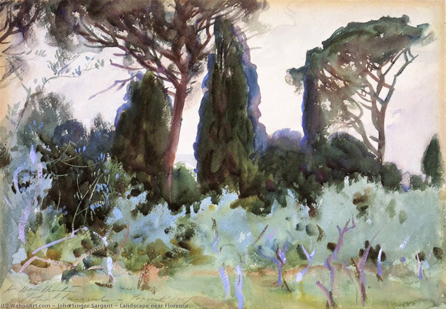 Landscape near Florence, Watercolour by John Singer Sargent (1856-1925, Italy)