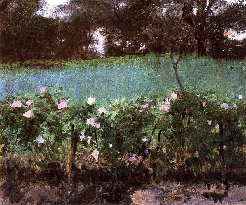 Landscape with Rose Trellis, 1886 by John Singer Sargent (1856-1925, Italy) | Museum Quality Copies John Singer Sargent | WahooArt.com