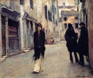 John Singer Sargent - Street in Venice - (oil painting reproductions)