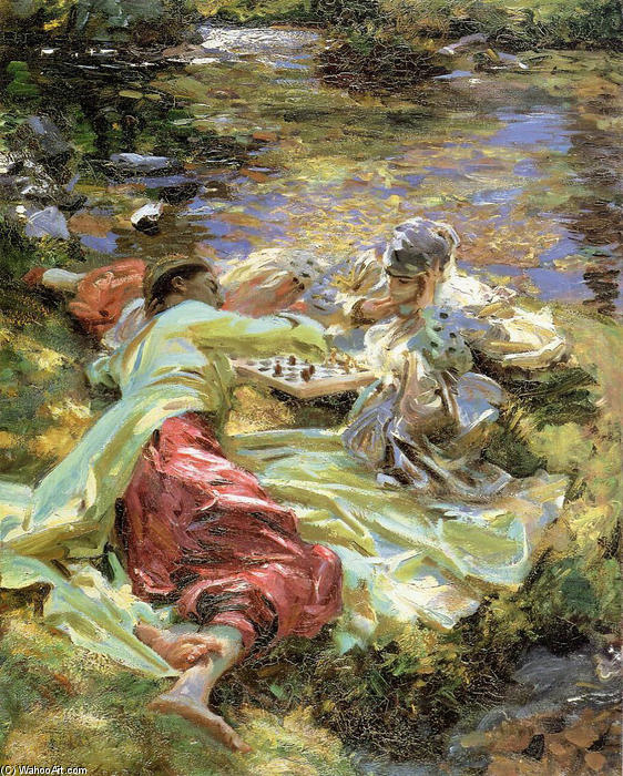 The Chess Game, Oil On Canvas by John Singer Sargent (1856-1925, Italy)