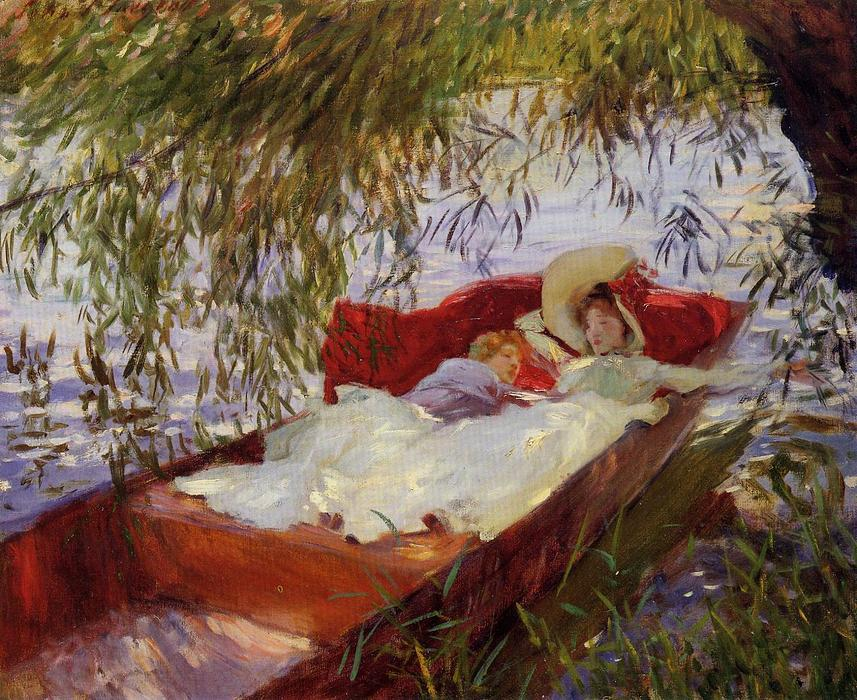 Two Women Asleep in a Punt under the Willows, 1887 by John Singer Sargent (1856-1925, Italy) | WahooArt.com