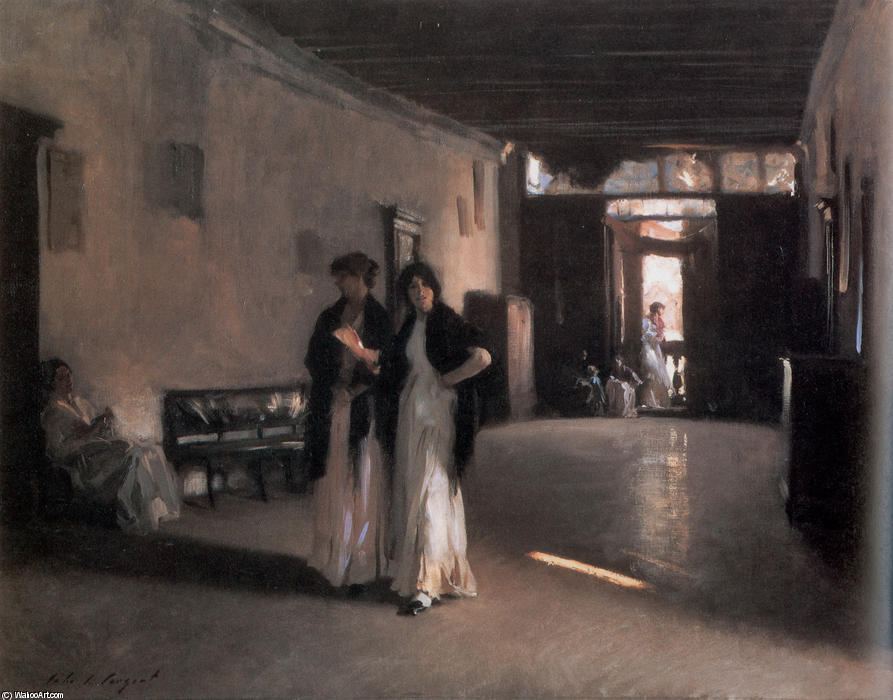 Venetian Interior, Oil On Canvas by John Singer Sargent (1856-1925, Italy)