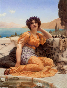 John William Godward - With Violets Wreathed and Robe of Saffron Hue