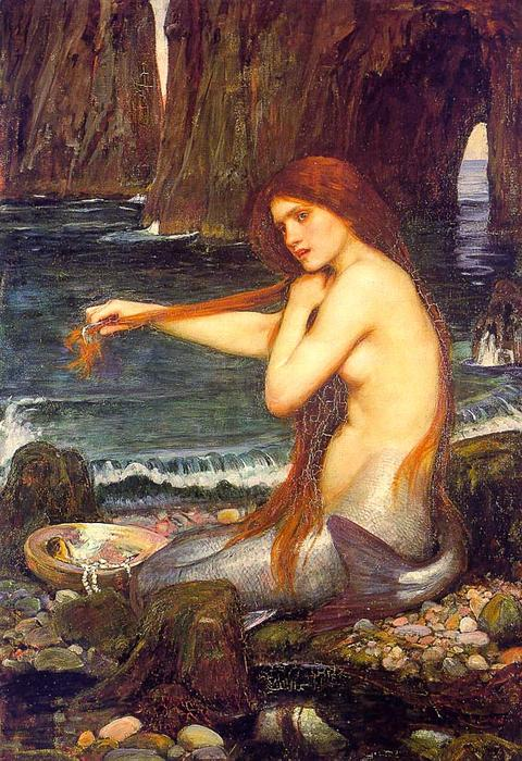 A marmaid by John William Waterhouse (1849-1917, Italy) | Museum Quality Reproductions | WahooArt.com