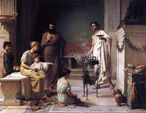 John William Waterhouse - A Sick Child Brought into the Temple of Aesculapius