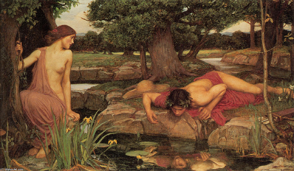 Echo and Narcissus, 1903 by John William Waterhouse (1849-1917, Italy) | Oil Painting | WahooArt.com