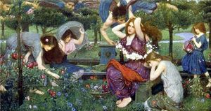 John William Waterhouse - Flora and the Zephyrs - (Famous paintings reproduction)