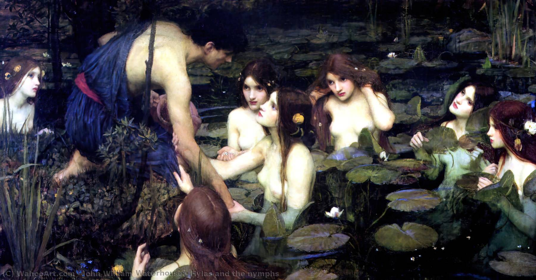 Hylas and the nymphs, Oil by John William Waterhouse (1849-1917, Italy)