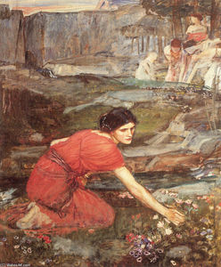 John William Waterhouse - Maidens picking (study)