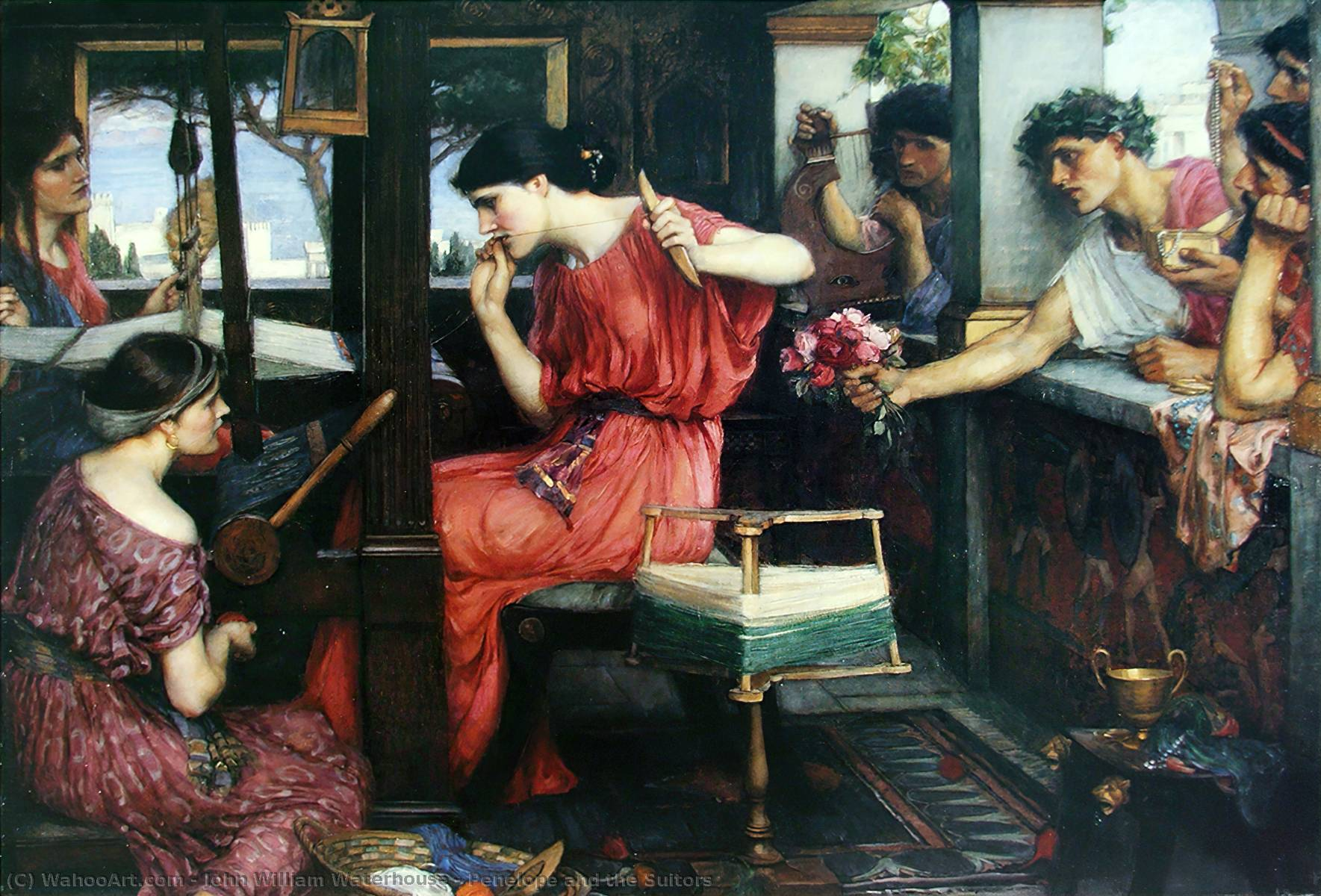 Penelope and the Suitors, 1912 by John William Waterhouse (1849-1917, Italy) | Museum Quality Copies John William Waterhouse | WahooArt.com