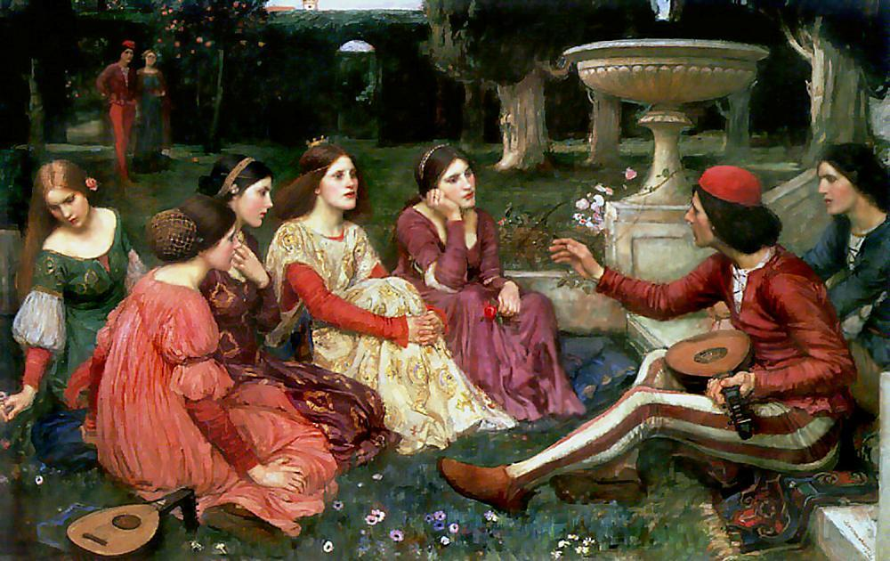 Tale from the Decameron, Oil by John William Waterhouse (1849-1917, Italy)