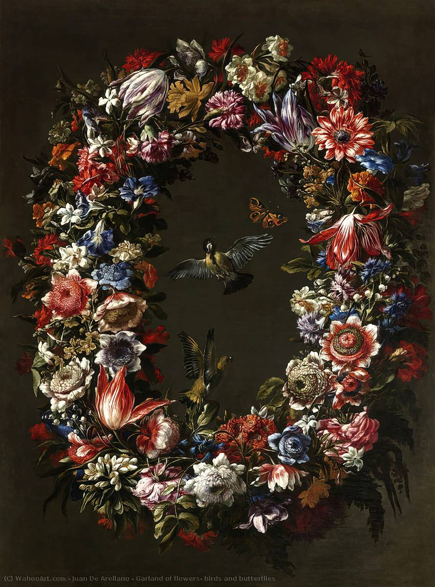 Garland of flowers, birds and butterflies by Juan De Arellano (1614-1676, Spain) | Oil Painting | WahooArt.com