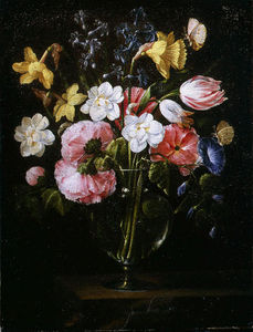 Juan De Arellano - Roses, Clematis, a Tulip and other flowers in a Glass Vase on a wooden Ledge with a Butterfly