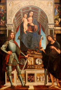 Lorenzo Costa (The Elder) - The Virgin and Child Enthroned between a Soldier Saint and Saint John the Baptis