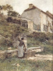 Léon Augustin L'hermitte - A Woman filling her bucket at a Well