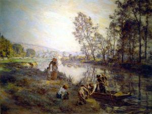 Léon Augustin L'hermitte - Figures by a Country Stream