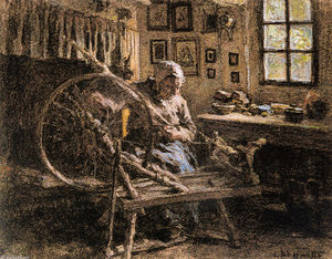 Léon Augustin L'hermitte - The Spinning Wheel