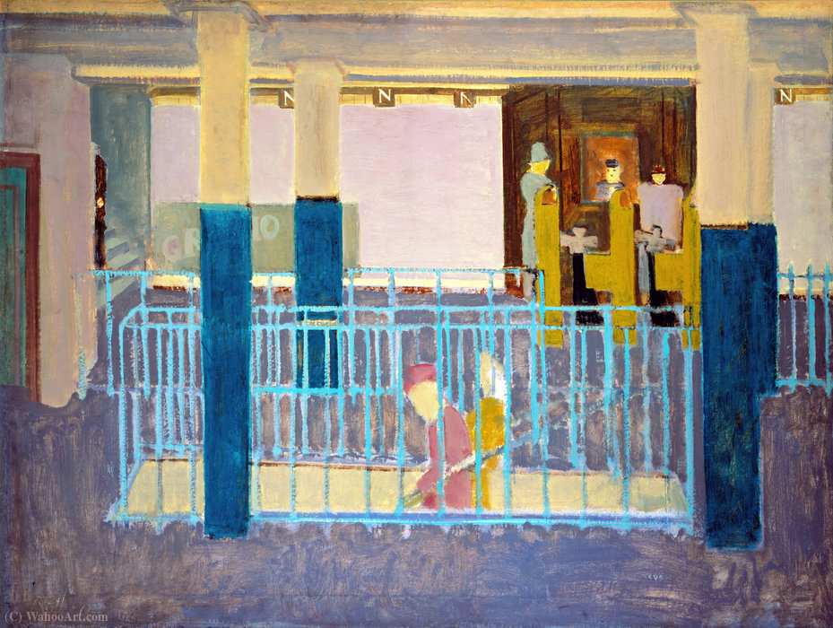 Entrance to Subway (Subway Station.Subway Scene) by Mark Rothko (Marcus Rothkowitz) (1903-1970, Latvia) | Art Reproduction | WahooArt.com