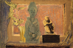 Mark Rothko (Marcus Rothkowitz) - Untitled (still life with vase and two statues)
