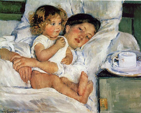 Breakfast in Bed by Mary Stevenson Cassatt (1843-1926, United States) | Museum Quality Reproductions | WahooArt.com