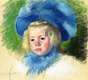 Mary Stevenson Cassatt - Head of Simone in a Large Plumes Hat Looking Left