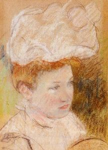 Mary Stevenson Cassatt - Leontine in a Pink Fluffy Hat