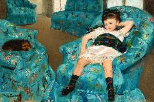 Mary Stevenson Cassatt - Little Girl in a Blue Armchair - (oil painting reproductions)