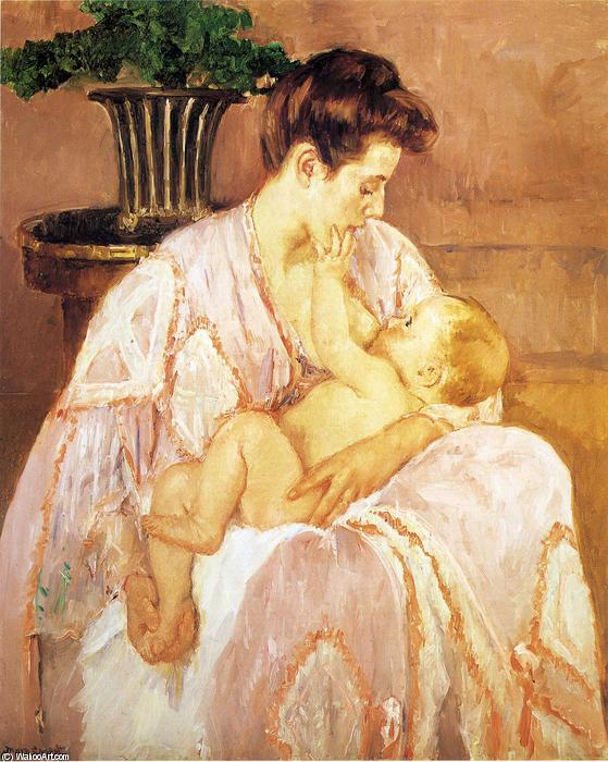 Young Mother Nursing Her Child, Oil by Mary Stevenson ...