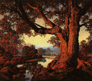 Maxfield Parrish - Riverbank in Autumn