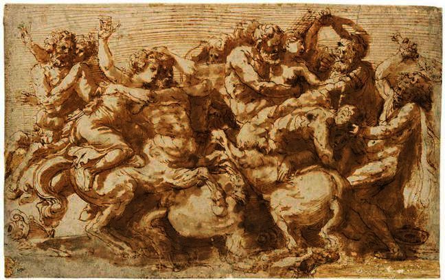 THE BATTLE OF THE CENTAURS AND LAPITHS, Oil by Prospero Fontana (1512-1597, Italy)