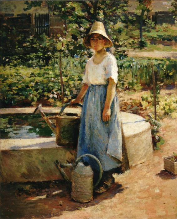 At the Fountain by Theodore Robinson (1852-1896, United States) | Famous Paintings Reproductions | WahooArt.com