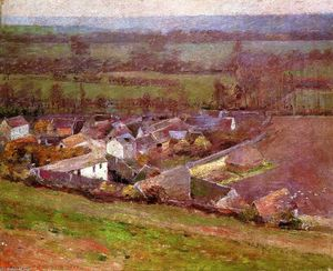 Order Art Reproductions | Bird`s Eye View.Giverny by Theodore Robinson (1852-1896, United States) | WahooArt.com