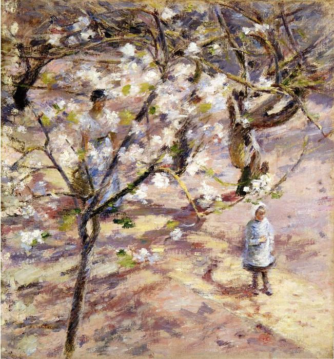 Blossoms at Giverny by Theodore Robinson (1852-1896, United States) | Art Reproduction | WahooArt.com
