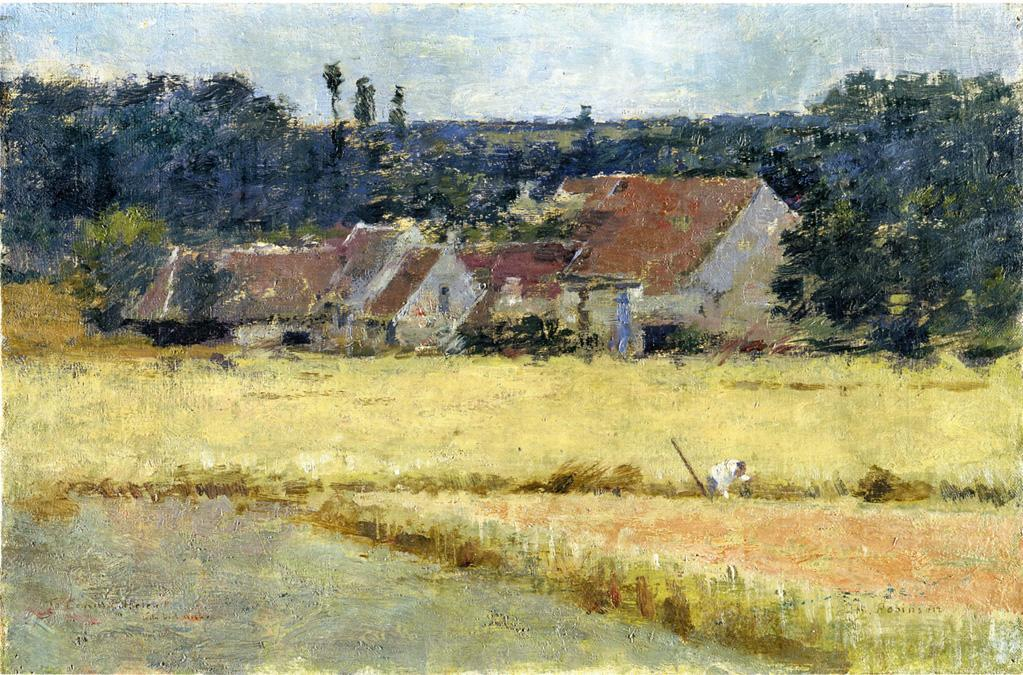 French Farmhouse, 1887 by Theodore Robinson (1852-1896, United States) | Painting Copy | WahooArt.com