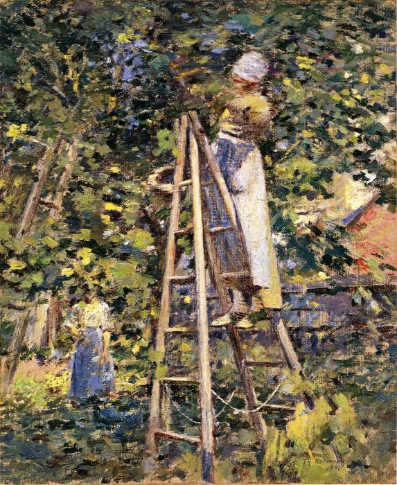 Gathering Plums, 1891 by Theodore Robinson (1852-1896, United States) | WahooArt.com