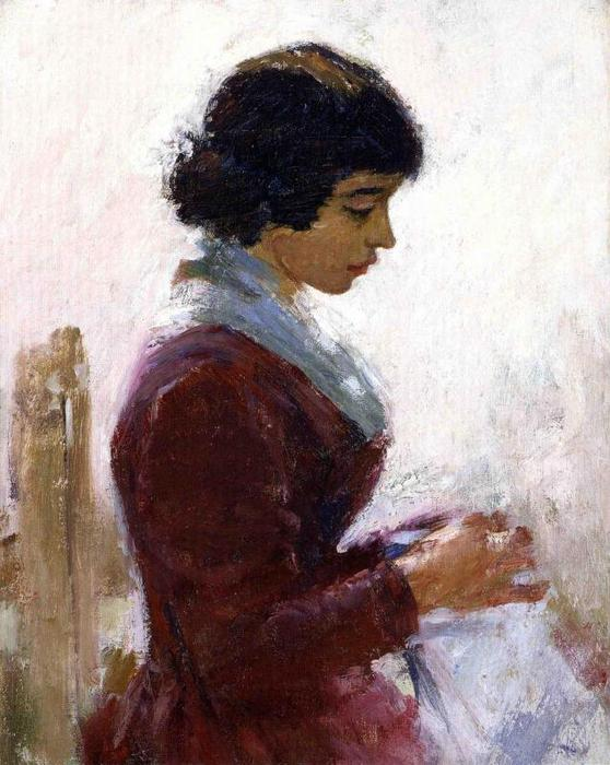 Girl in Red, Sewing by Theodore Robinson (1852-1896, United States) | Museum Quality Copies Theodore Robinson | WahooArt.com